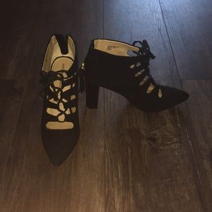 Lace up with zipper black heels
